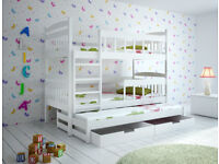 Triple White wooden bunk bed