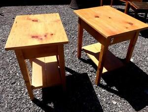 RUSTIC PINE BEDSIDE TABLES - HANDMADE - VINTAGE MIDCENTURY RETRO DECOR - Slightly different sizes OAKVILLE 905 510-8720
