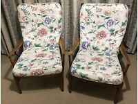 Pair of 1960's Parker Knoll Ladderback Armchairs Model PK 1016-19