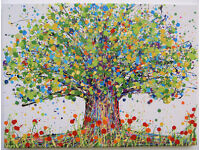 LARGE ABSTRACT NEW GREEN YELLOW OAK TREE & RED POPPIES MODERN ART PAINTING ON CANVAS | Free Delivery