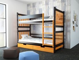 Brown and orange bunk bed with storage drawers