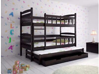 Triple wooden bunk bed DARK BROWN