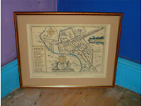 VINTAGE FRAMED (PRINT) PLAN OF CARDIFF CITY BY JOHN SPEED c1610 Printed by Glamorgan Archive Service