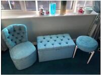 Bedroom furniture set - stool, chair and linen ottoman