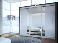 Mat white 250 cm wardrobe with mirrors and led lights for sale still in box