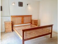 Gorgeous,,,,,, pine king size bed frame in excellent condition