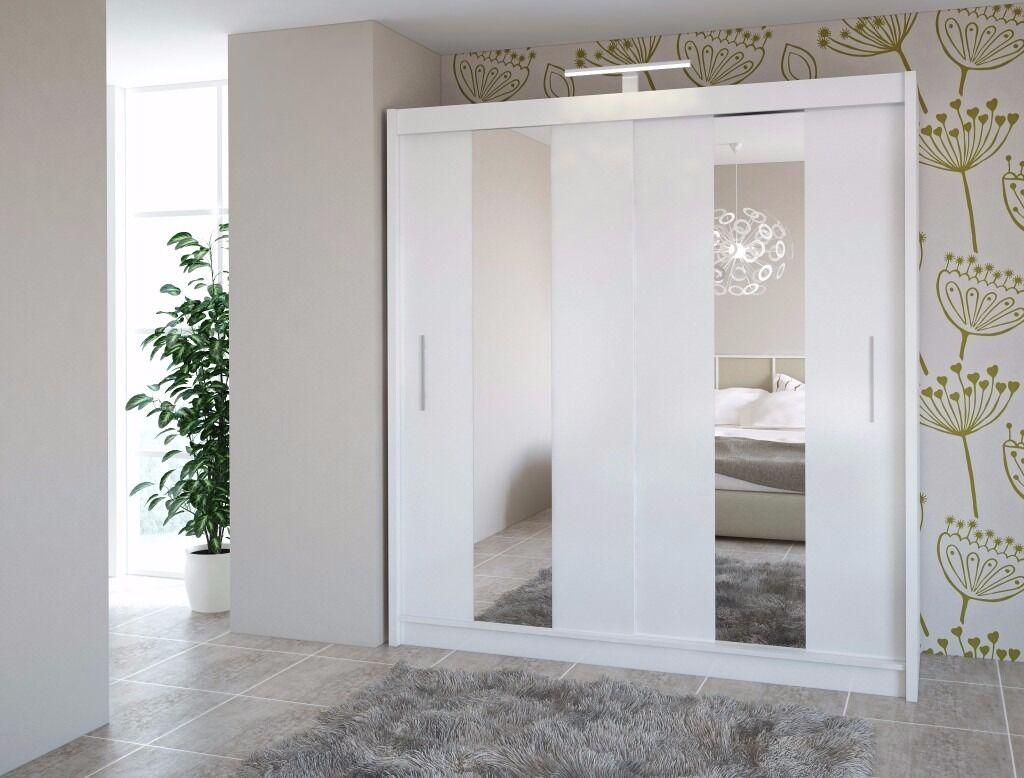 Venus White 203 Cm Sturdy Free Standing Wooden Sliding Door Wardrobe