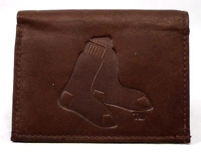 Sox Mens Leather -   BOSTON RED SOX MENS TRIFOLD BROWN LEATHER WALLET WITH EMBOSSED LOGO