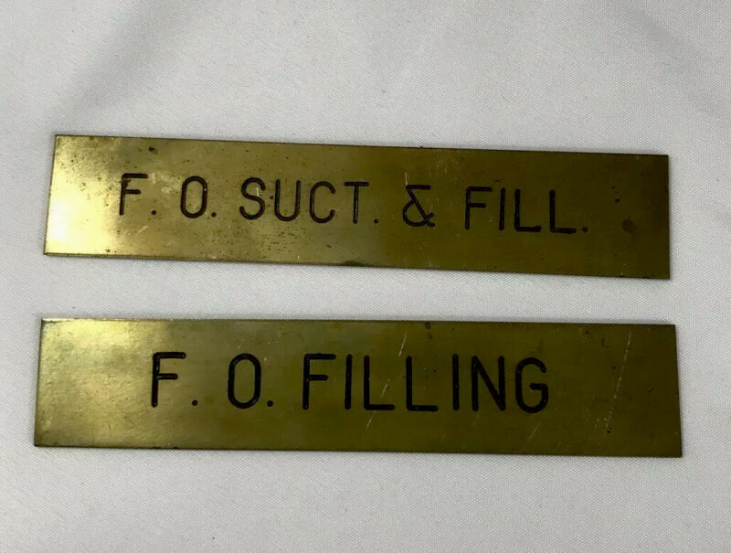 2 Vintage Brass Navel Ship Plaque Placard Label F.O. Duct Fill Filling 5""