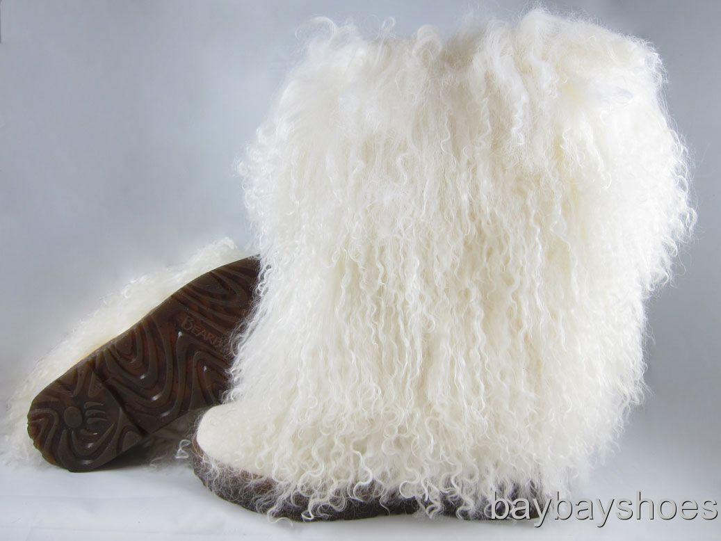 Bearpaw Boetis Ii 2 11 Boot White/gum Curly Lamb Fur Sheepskin Us Womens Sizes