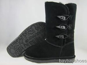 BEARPAW-SARAH-10-BOOT-BLACK-SHEEPSKIN-3-BUTTON-ABIGAIL-TALL-WOMENS-ALL-SIZES