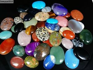 Natural-Gemstone-Oval-CAB-Focal-Flatback-Cabochon-For-Crafts-Jewelry-30mm-40mm