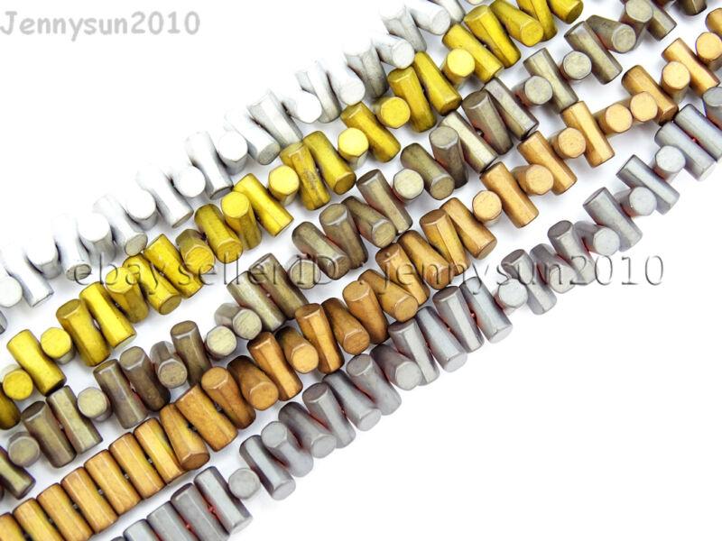 Natural Matte Hematite Gemstones 3mm x 6mm Horizontal Drilled Tube Beads 16