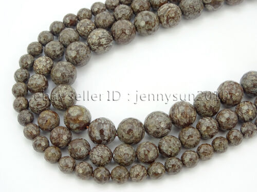 Natural Chinese Snow Flake Gemstone Faceted Round Beads 15