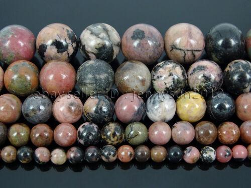 Natural Black Line Rhodonite Gemstone Round Beads 15.5