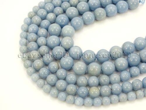 Natural Angelite Gemstone Round Beads 15.5
