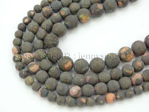 Natural Matte Black Plum Flower Gemstone Round Spacer Beads 15