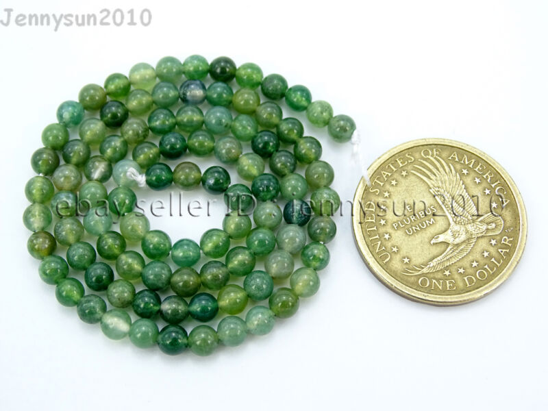 Natural Green Moss Agate Gemstone Round Beads 15'' Strand 4mm 6mm 8mm 10mm 12mm  4mm