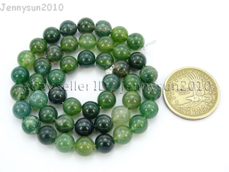 Natural Green Moss Agate Gemstone Round Beads 15'' Strand 4mm 6mm 8mm 10mm 12mm  8mm