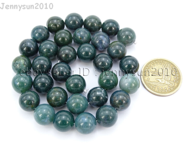 Natural Green Moss Agate Gemstone Round Beads 15'' Strand 4mm 6mm 8mm 10mm 12mm  12mm