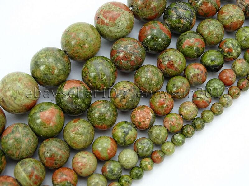 Natural Unakite Gemstone Round Loose Beads 16
