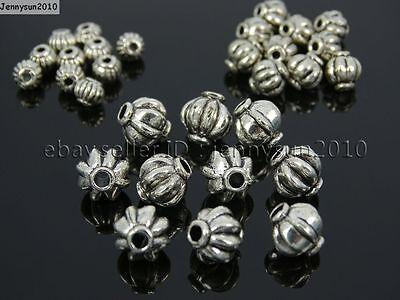 Tibetan Silver Round Lantern Pumpkin Spacer Loose Beads Connector 4mm 6mm 8mm (Pumpkin Crafts)