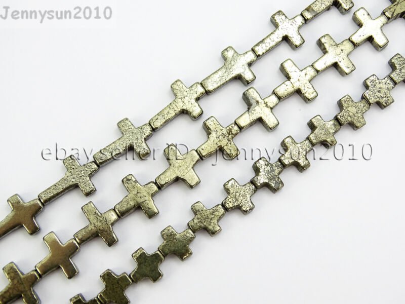 Natural Grey Silver Pyrite Gemstone Cross Spacer Beads 16
