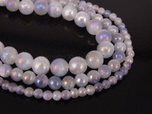Natural Selenite AB Gemstone Round Spacer Loose Beads 15.5