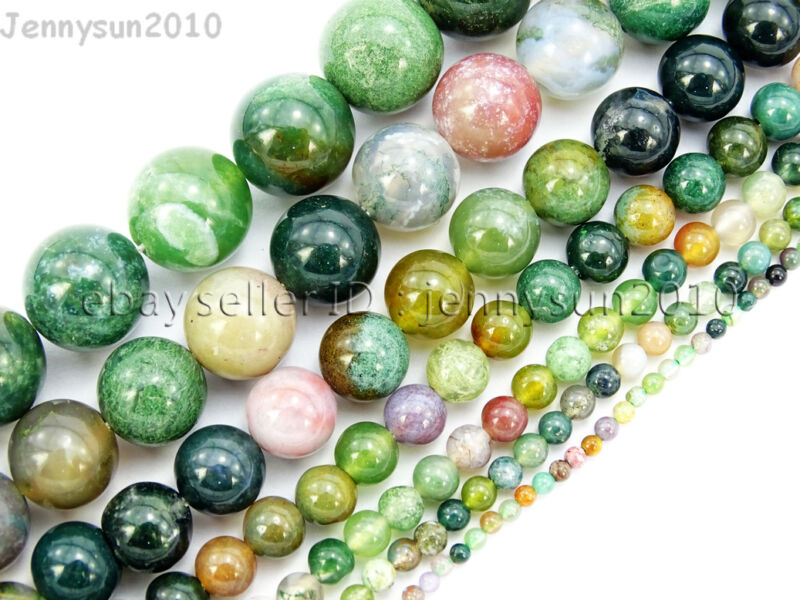 Natural Indian Agate Gemstone Round Beads 15