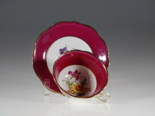 Foley China Floral Burgundy Tea Cup and Saucer, England c.1930