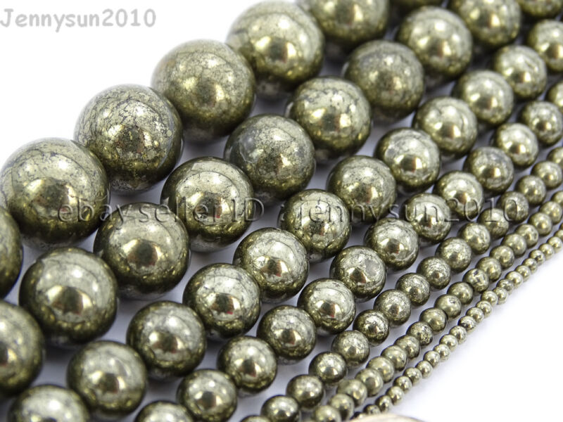 Natural Grey Silver Pyrite Gemstone Round Beads 16