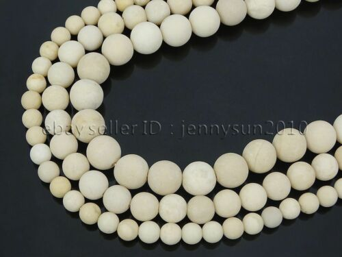 Natural Matte Fossil Stone Gemstone Round Spacer Beads 15
