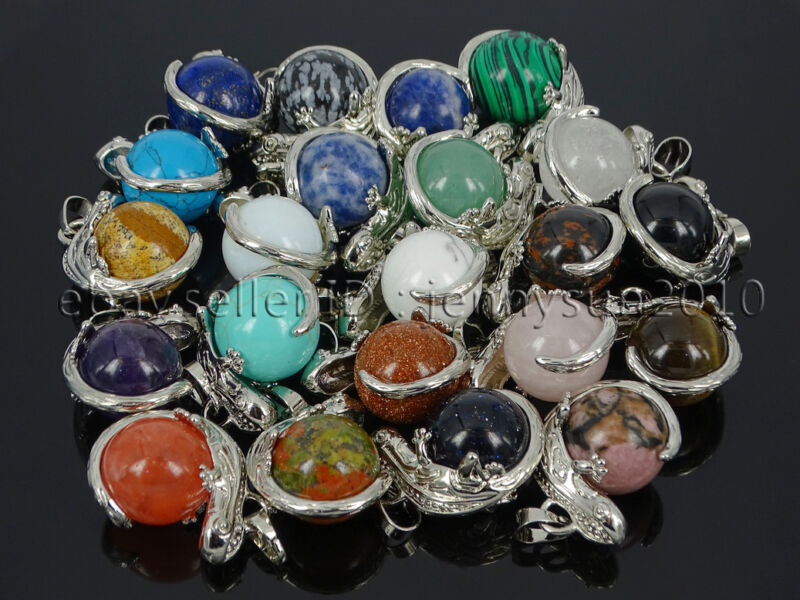 Natural Gemstone Round Ball Reiki Chakra Lizard Pendant Charms Silver Plated
