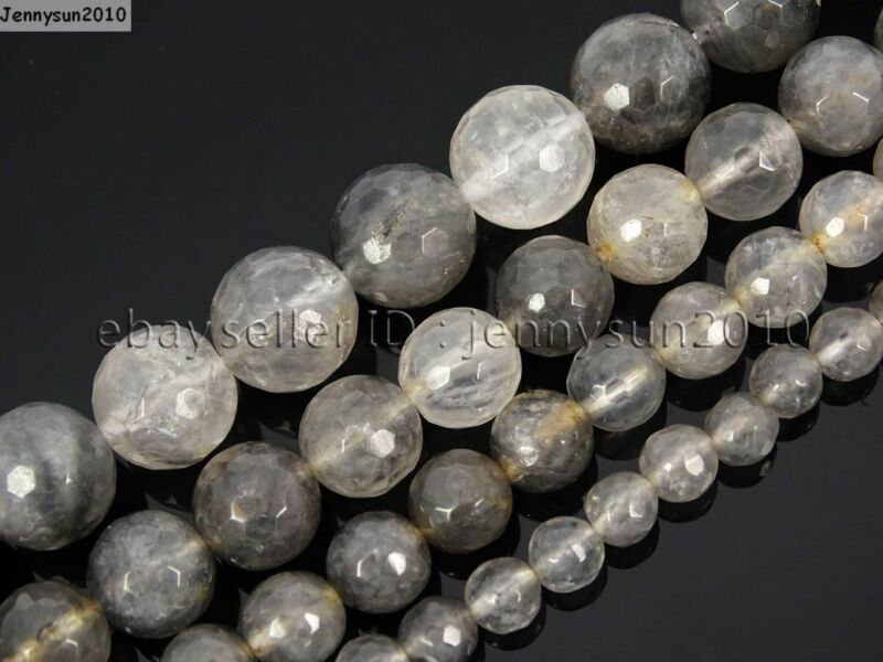 Natural Grey Cloudy Quartz Gemstone Faceted Round Beads 15.5