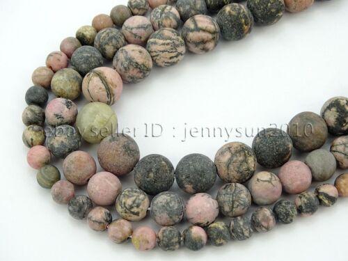 Natural Matte Black Line Rhodonite Gemstone Round Beads 15