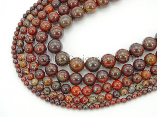 Natural Poppy Jasper Gemstone Round Spacer Beads 16