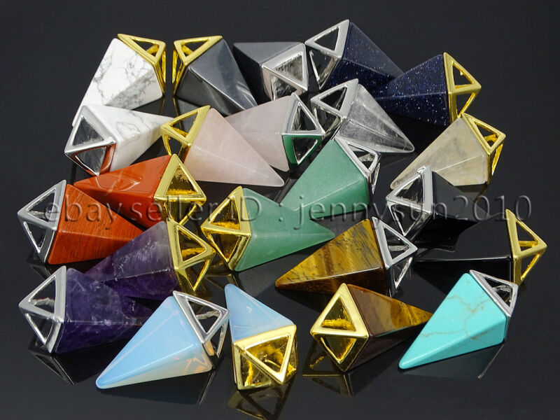 Natural Gemstones Pyramid Pointed Reiki Chakra Pendant Charms Silver Gold Plated