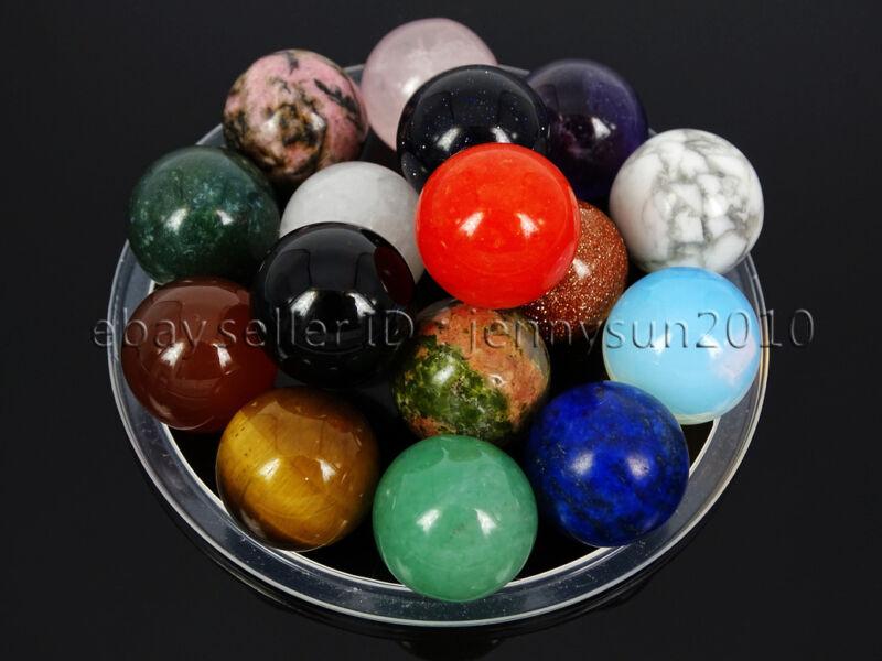 Natural Gemstones Harmony Round Ball Crystal Sphere Rock Stone 16mm Reiki Chakra