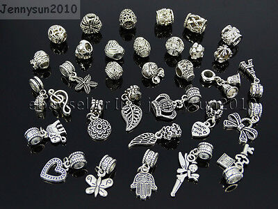 Tibetan Silver Big Hole Connector Metal Spacer European Charm Beads Findings #3