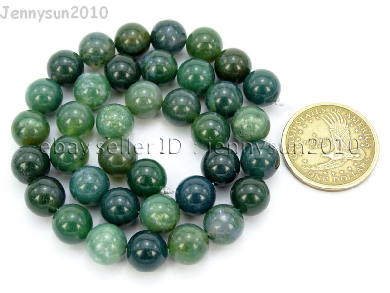 Natural Green Moss Agate Gemstone Round Beads 15'' Strand 4mm 6mm 8mm 10mm 12mm  10mm