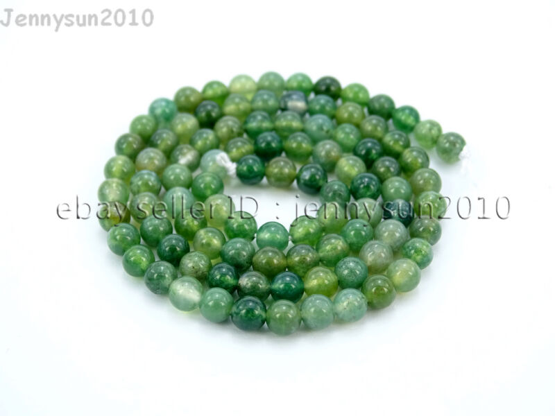 Natural Green Moss Agate Gemstone Round Beads 15'' Strand 4mm 6mm 8mm 10mm 12mm