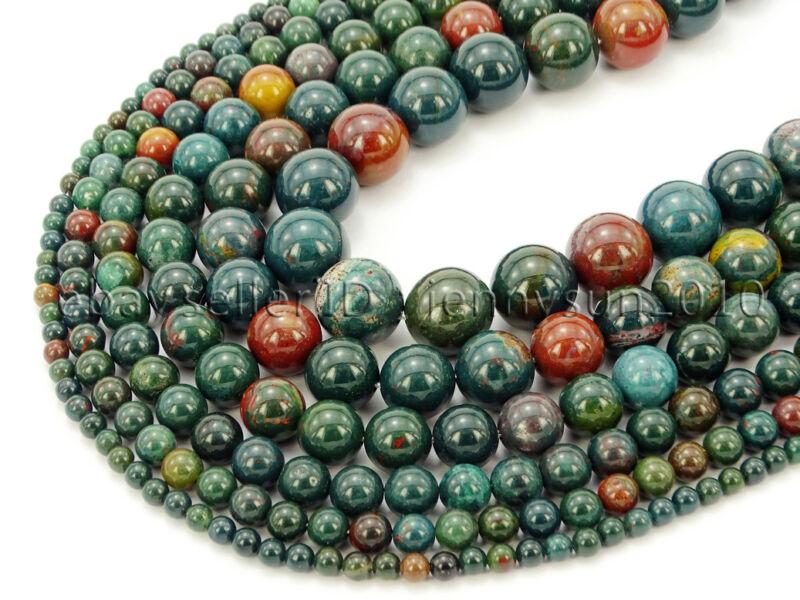 Natural Blood Stone Gemstone Round Spacer Beads 15.5