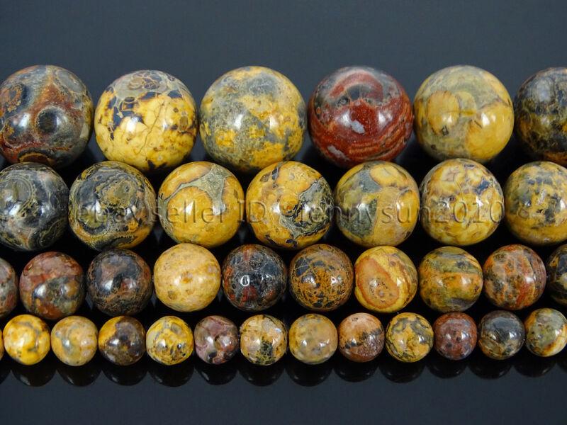 Natural Leopard Skin Jasper Gemstone Round Spacer Beads 15
