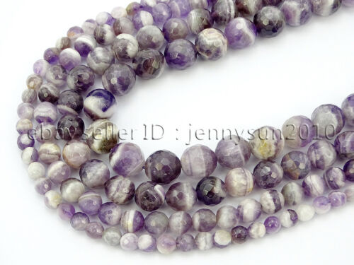 Natural Dog Tooth Amethyst Gemstone Faceted Round Beads 15