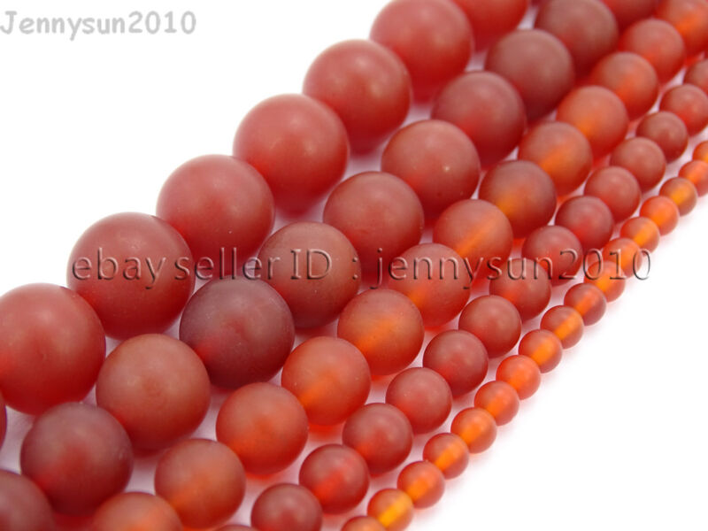 Matte Red Natural Carnelian Agate Gemstone Round Beads 15.5