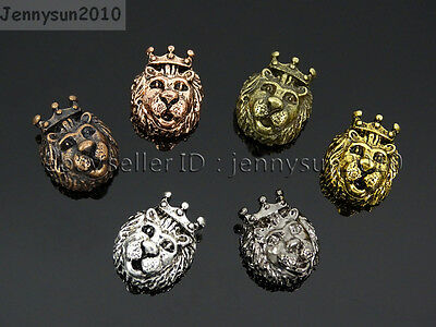 - King Crown Lion Head Bracelet Necklace Connector Charm Beads Metal Findings