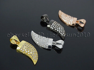 Clear Zircon Gemstone Pave Horn Tusk Tooth Spike Pendant Charm Beads Silver (Horn Tusk Pendant Charm)