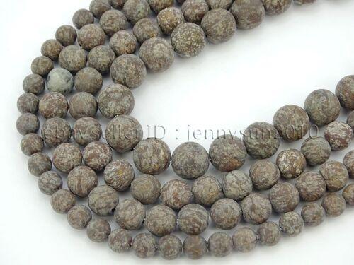 Natural Matte Chinese Snow Flake Gemstone Round Beads 15