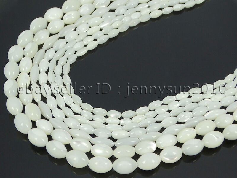Natural White Mother Of Pearl MOP Shell Rice Spacer Loose Beads 16