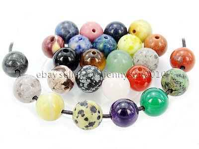 20Pcs Natural Gemstones Stone (2mm) Big Hole Round Loose Beads 6mm 8mm 10mm 12mm (Big Beads)